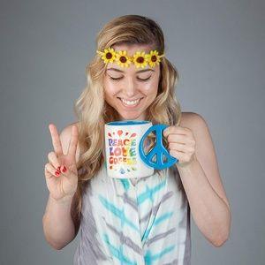 Other - Large Colorful Mug Peace Sign Handle